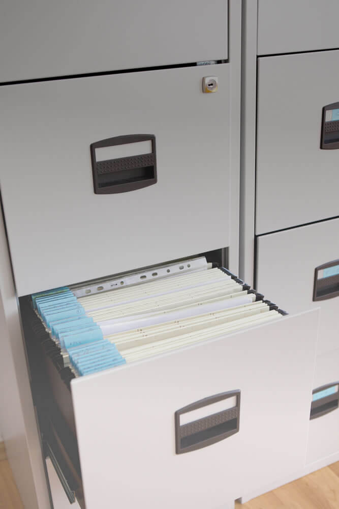 personal injury case filing cabinet